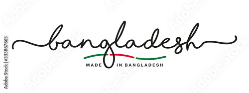 Made in Bangladesh handwritten calligraphic lettering logo sticker flag ribbon b Canvas Print