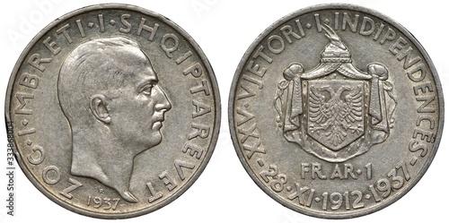 Valokuvatapetti Albania Albanian silver coin 1 one frang ar 1937, subject 25th Anniversary of In