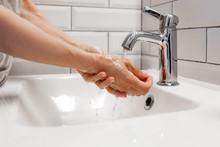 Washing Hands Rubbing With Soa...