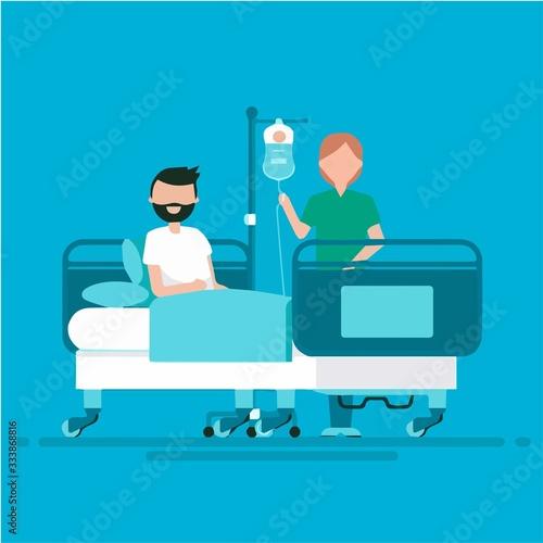 Photo Nurse attending patient in hospital, hospital scene, colorful illustration