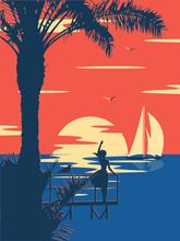 Sunset Summer Tropical Beach W...