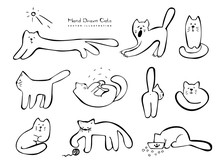Hand Drawn Cats, Doodle Sketch...