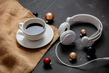 Cup Of Coffee And Baubles With...