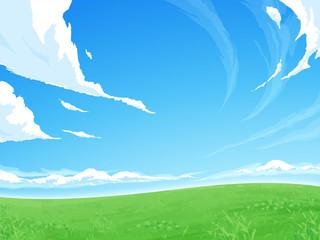 草原の背景イラスト_空