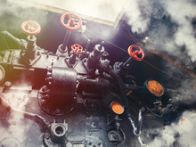 View On Cabine Of Locomotive Driverin Steam.