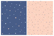 Cute Starry and Dotted Seamless Vector Patterns. White Stars and Blush Pink Stars Isolated on a Dark Blue Background. White and Navy Blue Dots on a Blush Pink Layout. Simple Geometric Prints.