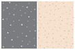 Cute Starry and Dotted Seamless Vector Patterns. White Stars and Beige Stars Isolated on a Dark Gray Background. White and Gray Dots on a Beige Layout. Simple Geometric Prints.