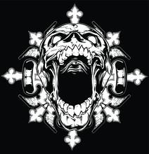 Fantasy Skull Screaming Illust...