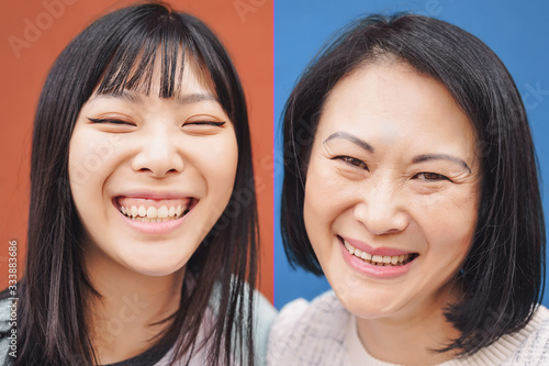 Happy Asian mother and daughter having fun outdoor -  Portrait Chinese family pe Canvas Print