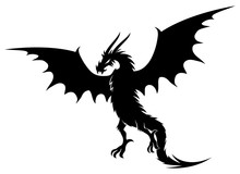 Black Dragon Sign On A White B...