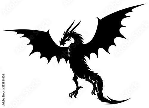 Black dragon sign on a white background. Fotobehang