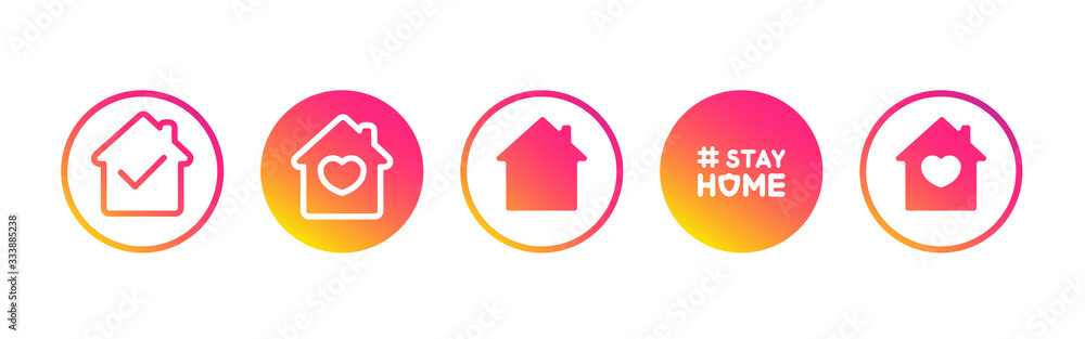 Fototapeta Social media set in support of self-isolation and staying at home. Distancing measures to prevent virus spread. Covid19 signs. Stay home. Isolated icon set on white background perfect for posts, news.
