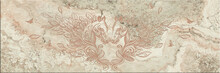 High Quality Porcelain Or Marble Panel Tile With Carved Foliage Horses For Wall Or Ground Decoration, 3d Illustration.