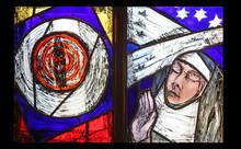 Saint Hildegard Of Bingen, Stained Glass Window By Sieger Koder In Benediktbeuern Abbey, Germany