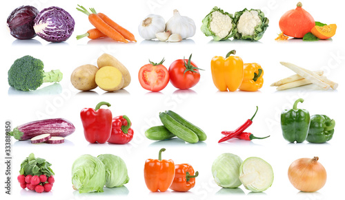 Obraz Collection of vegetables tomatoes carrots lettuce pumpkin fresh food vegetable potatoes isolated - fototapety do salonu