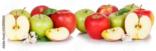 Apple fruits red and green apples fruit isolated on white in a row Fototapet