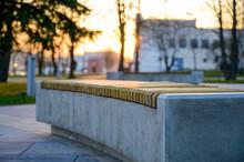 Photo Of A City Park Bench Dur...