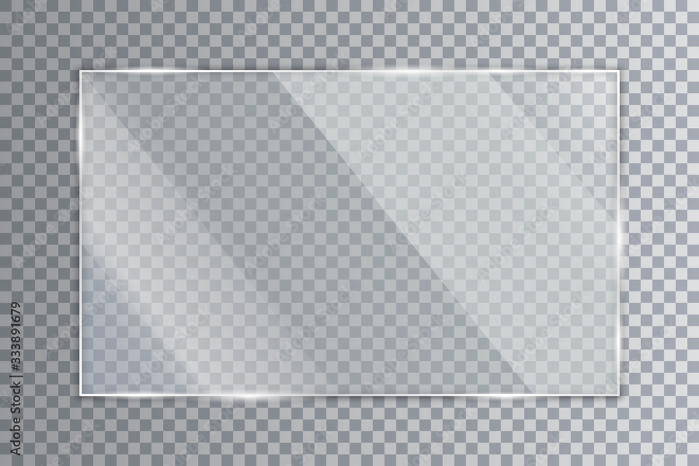 Fototapeta Glass plate on transparent background, clear glass showcase, realistic window mockup, acrylic and glass texture with glares and light, realistic transparent glass window in rectangle frame – for stock