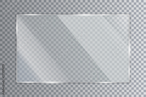 Stampa su Tela Glass plate on transparent background, clear glass showcase, realistic window mo
