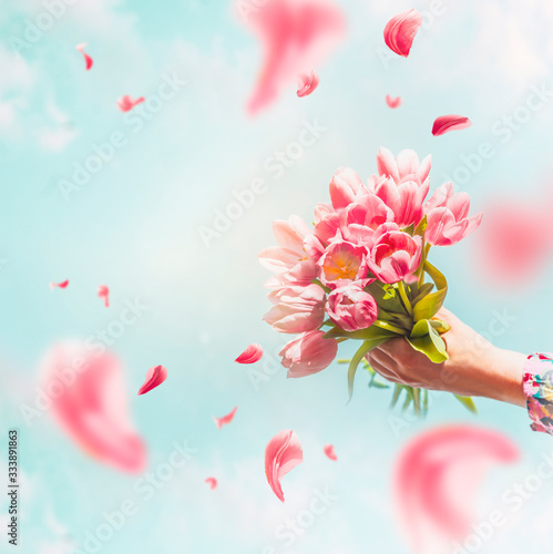 Obraz na plátně Female hand holding tulips bunch with flying petals at blue sky background