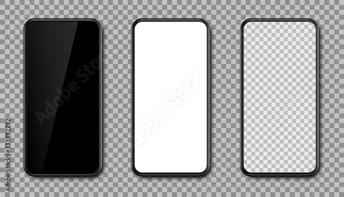 Obraz Set smartphone. Phone black with transparent, black and white screen - vector - fototapety do salonu