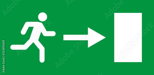Running man and exit door sign Fototapete