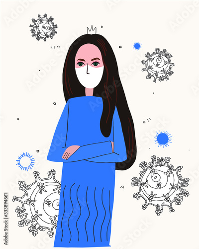 illustration of a stern Queen in a crown and mask Canvas Print