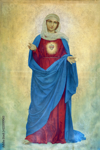 Fotografering Immaculate Heart of Mary, altarpiece in the Holy Trinity Parish Church in Klenov