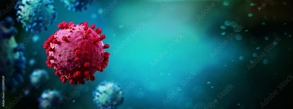 Fototapeta Coronavirus Covid-19 background - 3d rendering