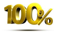 3D Illustration 100 Percent Go...