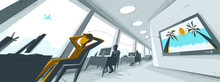 Office Interior In Distorted P...