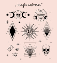 Vector Witch And Magic Collection With: Eyes, Moon, Sun, Hourglass, Abracadabra, Skull. Set Of Mystical Tattoos