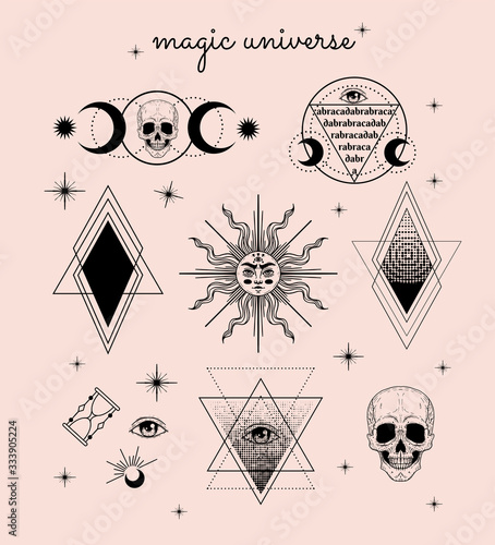 Photo Vector witch and Magic Collection with: eyes, moon, sun, hourglass, abracadabra, skull