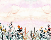 Wild Floral Watercolor Abstract Background