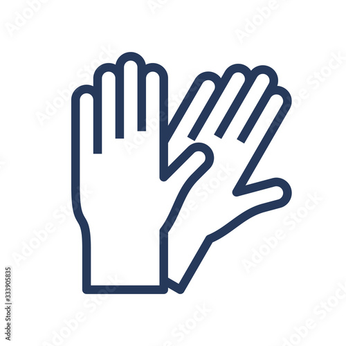 Pair of rubber gloves line, outline icon. Tableau sur Toile