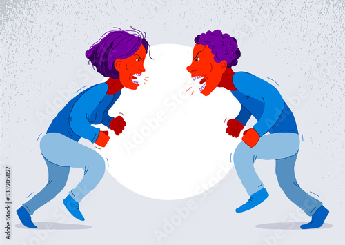 Abusive relations vector concept, man and woman is arguing aggressively with hate, quarrel between husband and wife, conflict scream and shout psychological abuse Canvas Print