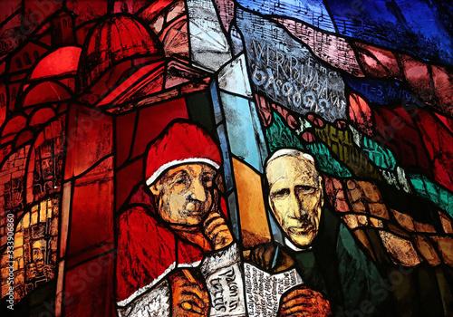 Leinwand Poster Pope John XXIII and Pierre Teilhard de Chardin, stained glass window by Sieger K