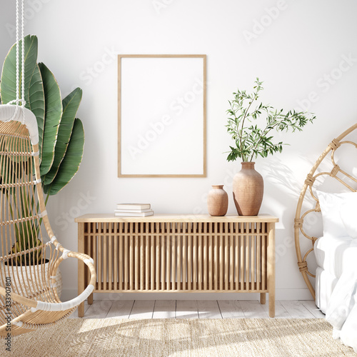 Photo Mockup frame in bedroom interior background, Coastal boho style, 3d render