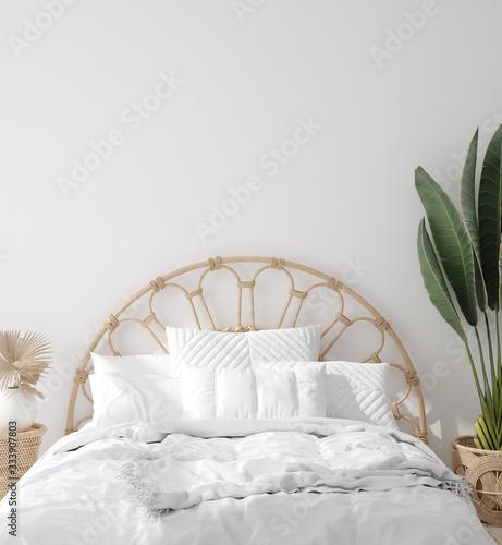 Canvas Print Coastal boho style bedroom interior, wall mockup, 3d render