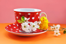 Red Cup And Saucer In White Po...