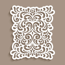 Vintage Panel With Cutout Paper Swirls. Ornate Vector Decoration With Floral Pattern. Arabesque Ornament. Elegant Template For Laser Cutting Or Wood Carving