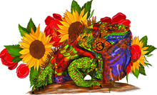 Iguana Reptile Multicolored Abstraction Green Orange Blue Composition And Flowers On A Background Of Bright Sunflowers Roses Red Details Barcode Graphic Vector Illustration