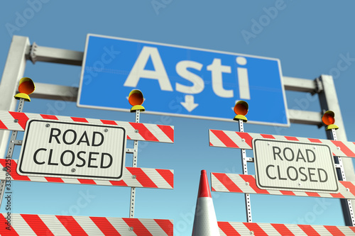 Barriers at Asti city traffic sign Canvas Print