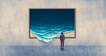 Backpacker Looking At Surreal Wave Painting