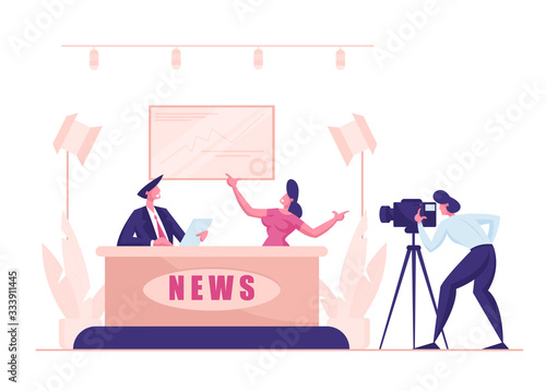Valokuvatapetti Live News in Broadcasting Production Studio