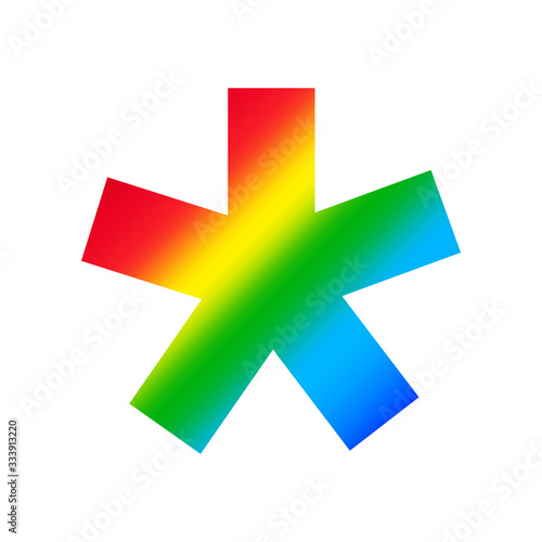 star asterisk symbol alphabet rainbow isolated on white, colorful logotype font Canvas Print