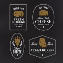 Cheese Labels Set. Vector Vintage Illustration.