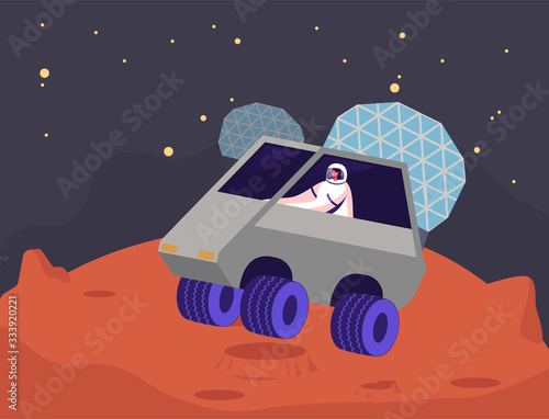Fényképezés Female Astronaut Character Ride Rover on Mars Surface