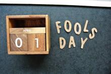 Wooden Calendar On April 01,Ap...