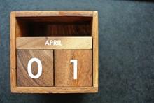 Wooden Calendar On April 01,April Fool's Day.